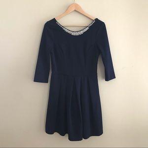 Francesca's 3/4 Sleeve Navy Dress Size L
